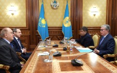 President of Kazakhstan Kassym-Jomart Tokayev receives Viktor Sadovnichy, Rector of the Lomonosov Moscow State University and Sergei Ordzhonikidze, Chair of the Russian Public Council for International Cooperation and Public Diplomacy