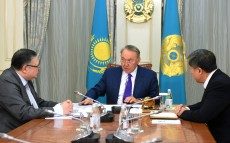 Meeting with Adilbek Dzhaksybekov, Head of the Presidential Administration, and Marat Tazhin, First Deputy Head of the Presidential Administration